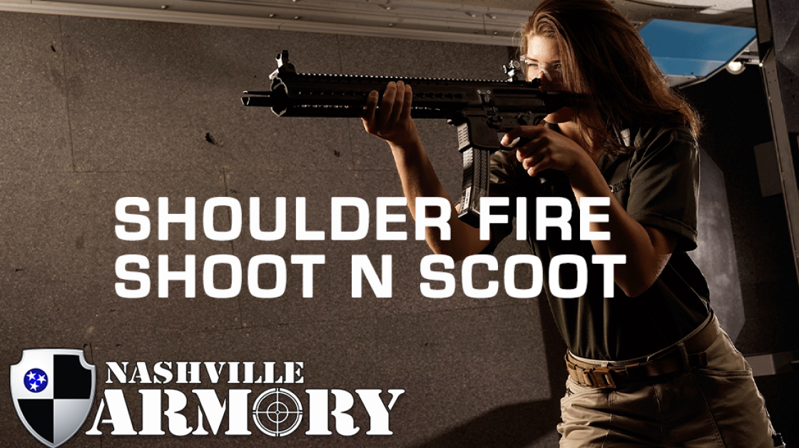 Shoulder Fire Shoot N Scoot Rifle with Female Shooter
